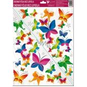 Room Decor Okenní fólie bez lepidla rohová pestrobarevní motýli č.4. 42 x 30 cm