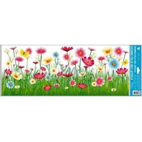 Room Decor Okenní fólie bez lepidla louka růžové květy pruh 60 x 22, 5cm