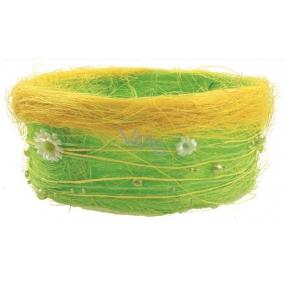 Jarní košíček ze sisalu s kopretinkami a perličkami 18 cm