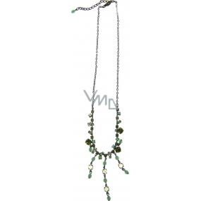 Bižuterie Náhrdelník bronzový se zelenými kamínky 45 cm + náušnice 1 pár