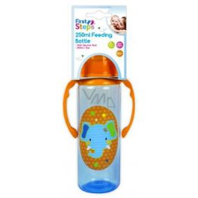 First Steps Jungle Slon 0+ kojenecká láhev s úchopy 250 ml