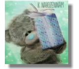 Albi Me To You Blahopřání do obálky 3D K narozeninám Medvěd s modrým dárkem 15,5 x 15,5 cm