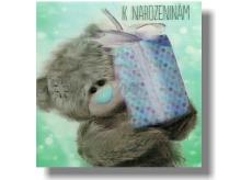 Me to You Blahopřání do obálky 3D K narozeninám Medvěd s modrým dárkem 15,5 x 15,5 cm