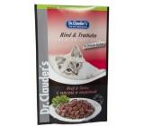 Dr. Clauders Hovězí a krocan v omáčce kompletní krmivo s kousky masa pro kočky kapsička 100 g