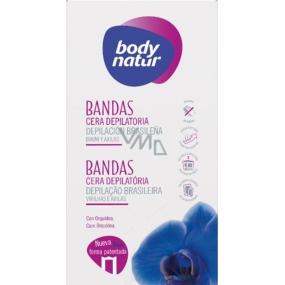 Body Natur Orchidej epilační voskové pásky pro oblasti bikin a podpaží pro citlivou pokožku 12 kusů + poepilační ubrousky 5v1 2 kusy