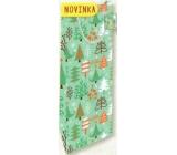 Nekupto Dárková papírová taška na láhev 33 x 10 x 9 cm Vánoční, stromečky 1819 50 WLH