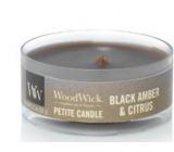 WoodWick Black Amber & Citrus - Černá ambra a citrusy vonná svíčka s dřevěným knotem petite 31 g
