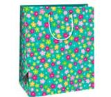 Ditipo Dárková papírová taška 26 x 32,5 x 13,8 cm zelená barevné kvítečka