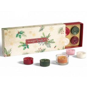 Yankee Candle Magical Christmas Morning Čajová svíčka 10 x 9,8 g + svícen 1 kus, vánoční dárková sada