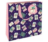 Nekupto Dárková papírová taška luxusní 23 x 23 cm Vánoční dárky WLIM 1974
