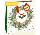 Nekupto Dárková papírová taška luxusní 33 x 33 cm Věnec s cesmínou Vánoční WLIL