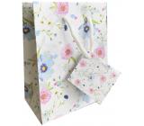 Nekupto Dárková papírová taška 14 x 11 x 6,5 cm Bílá s květy 2001 02 KFS