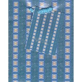 Nekupto Dárková papírová taška malá 14 x 11 x 6,5 cm Modré kytičky 1 kus 806 40 BS