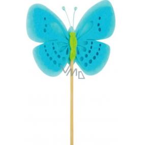 Motýl z filcu modrý zápich 7 cm + špejle