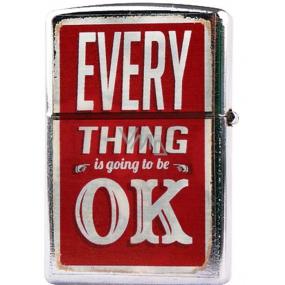 Bohemia Gifts & Cosmetics Retro zapalovač kovový benzínový s potiskem Everything Is Ok 5,5 x 3,5 x 1,2 cm