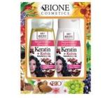Bione Cosmetics Keratin & Kofein Makadamiový olej regenerační šampon na vlasy 260 ml + regenerační kondicionér 260 ml, kosmetická sada