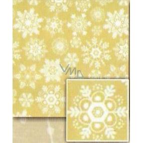 Nekupto Dárkový balicí papír 70 x 500 cm Vánoční Zlatý, bílé vločky