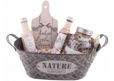 Bohemia Gifts Růže plechová ošatka vlasový šampon 200 ml + sprchový gel 200 ml + sůl do koupele 1200 ml + mýdlo v plechovce 80 g + dekorační prkénko, kosmetická sada