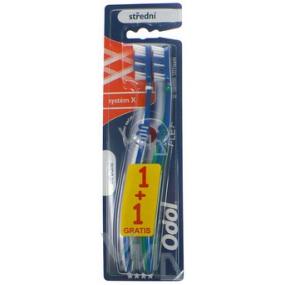 Odol Systém X střední zubní kartáčekí 1 + 1 kus, duopack