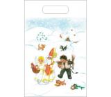 Taška igelitová Mikuláš, čert, anděl, chaloupka, pes 36 x 27 cm