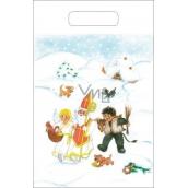 Anděl Igelitová taška 36 x 27 cm Mikuláš, čert, anděl, chaloupka, pes