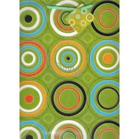 Nekupto Dárková papírová taška střední 994 50 BL zelená, kruhy 32,5 x 26 x 13 cm