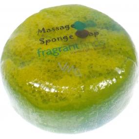 Fragrant Cocoa Glycerinové mýdlo masážní s houbou naplněnou vůní parfému Channel Coco v barvě zelenožluté 200 g