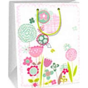 Ditipo Dárková papírová taška 26,4 x 13,7 x 32,4 cm bílá růžové a zelené kytky