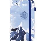 Albi Diář 2021 Kapesní s gumičkou Modré květy 15 x 9,5 x 1,3 cm