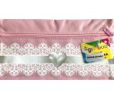 Donau Gimboo školní pouzdro se zipem růžové srdce 22 x 12 cm