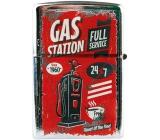 Bohemia Retro zapalovač kovový benzínový s potiskem Gas Station 5,5 x 3,5 x 1,2 cm