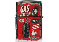 Bohemia Gifts Retro zapalovač kovový benzínový s potiskem Gas Station 5,5 x 3,5 x 1,2 cm