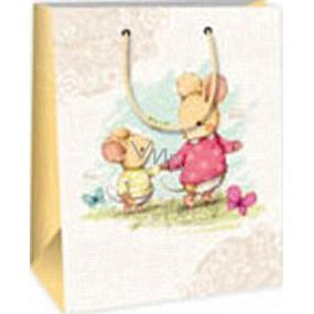 Ditipo Dárková papírová taška 18 x 10 x 22,7 cm bílá dvě myšky