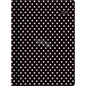 Albi Diář 2018 denní Černý s puntíky 12,5 cm × 17 cm × 2,2 cm