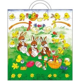 Anděl Velikonoční igelitová taška s uchem Zajíci a kraslice 48 x 45 x 6 cm