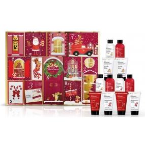 Baylis & Harding Červená kolekce Adventní kalendář 12 denní kalendář pro první dny prosince - 12 překvapení ve vůních Cukrový špalek, Peprmintové lízátko, Vanilková poleva, kosmetická sada