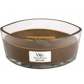 WoodWick Amber & Incense - Ambra a kadidlo vonná svíčka s dřevěným širokým knotem a víčkem sklo loď 453 g