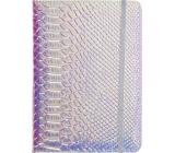 Albi Blok holografický linkovaný na gumičku Modro-stříbrný 19,5 x 14,2 x 1,5 cm
