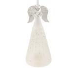Anděl skleněný na postavení bílý 15 cm