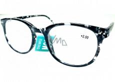 Berkeley Čtecí dioptrické brýle +2 plast mourovaté bílo-černé 1 kus MC2198