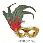 Škraboška plesová zlatá s černým peřím na straně 30 cm vhodná pro dospělé
