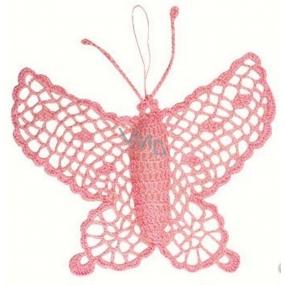 Háčkovaný motýl velký cca16 cm růžový