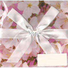 Anděl Dárková krabička skládací s mašlí růžová s květinami 22 x 22 x 13 cm