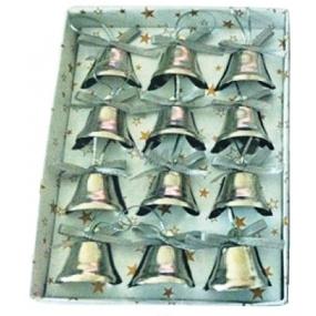 Zvonky stříbrné 2,5 cm 12 kusů v krabičce