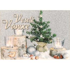 Nekupto Pohlednice s glitrem Vánoční vzor 3 Veselé Vánoce V41 PA 15 x 11 cm
