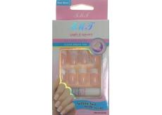 Nail Art umělé nehty s lepidlem francouzská manikúra světle růžová 24 kusů 935