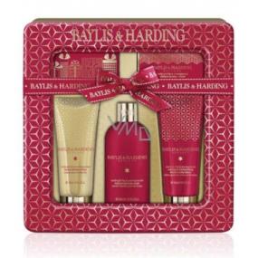 Baylis & Harding Fík a Granátové jablko tekuté tělové mýdlo 300 ml + sprchový krém 130 ml + mýdlo 150 g + krém na ruce a tělo 130 g + ručníček, v plechové dóze kosmetická sada