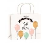 Anděl Taška narozeninová zlatá ražba balónky velikost M 23 x 18 x 10 cm