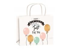 Anděl Dárková papírová taška 23 x 18 x 10 cm narozeninová zlatá ražba balónky velikost M