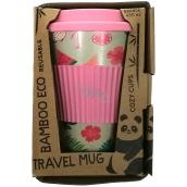 Cozy Time Bamboo Eco Flamingos bambusový ekologický termohrnek + silikonové víčko růžový 450 ml